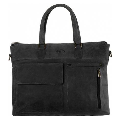 Always wild šedá kožená taška na notebook