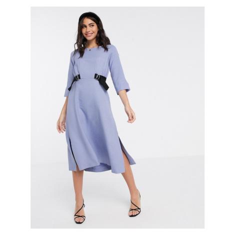 Closet London midi dress with double tie in lavender-Purple