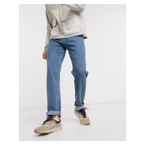 ASOS DESIGN original fit jeans in flat wash blue