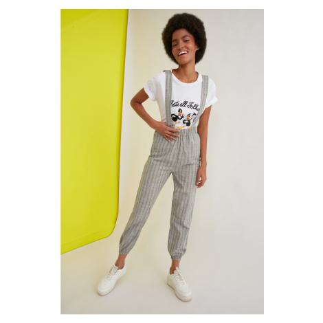 Trendyol Khaki Strap Striped Jumpsuit