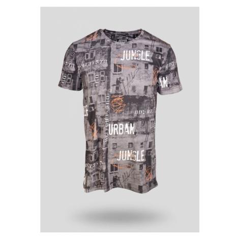 Pánské tričko John Frank JFTD16 Tm. šedá
