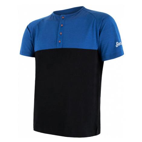 Pánské tričko s knoflíky SENSOR Merino Air PT modrá/černá