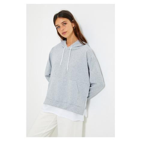 Trendyol Gray Hooded Basic Knitted Sweatshirt