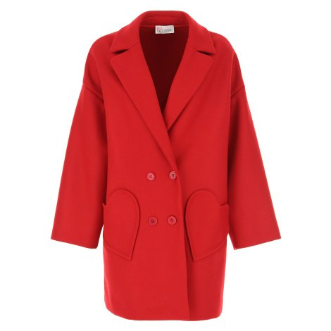 Červený vlněný kabát RED VALENTINO s příměsí kašmíru