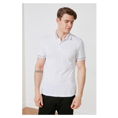 Trendyol White Male Short Sleeve Slim Fit Textured Polo Neck T-shirt
