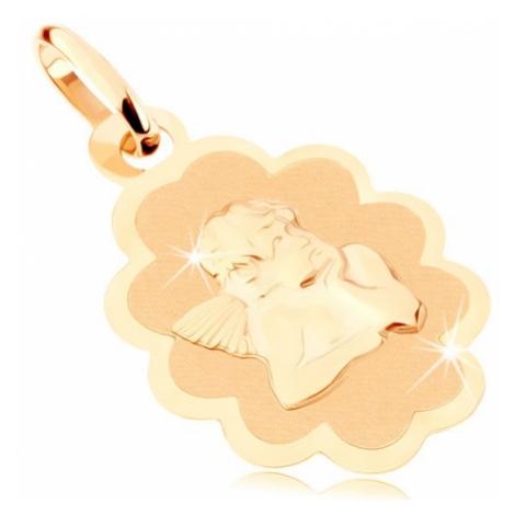 Přívěsek ze žlutého 9K zlata - matná známka s andělem, lesklý ozdobný lem Šperky eshop