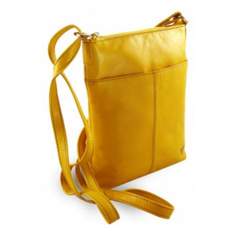 Žlutá dámská kožená zipová crossbody kabelka Jenny Arwel