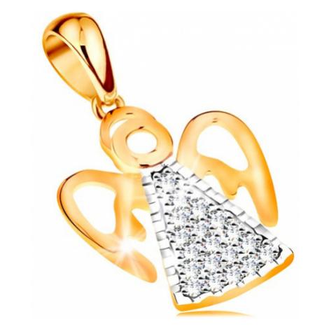 Dvoubarevný přívěsek ze 14K zlata - anděl s vyřezávanými křídly, čiré zirkonky Šperky eshop