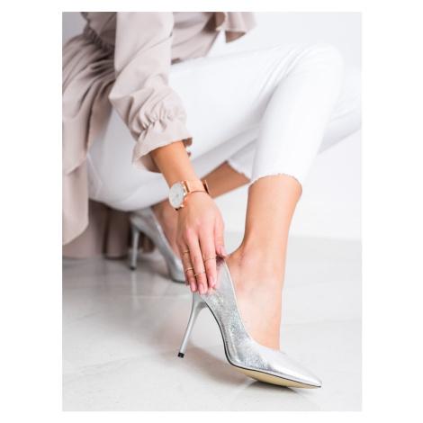 Komfortní lodičky šedo-stříbrné dámské na jehlovém podpatku GOODIN