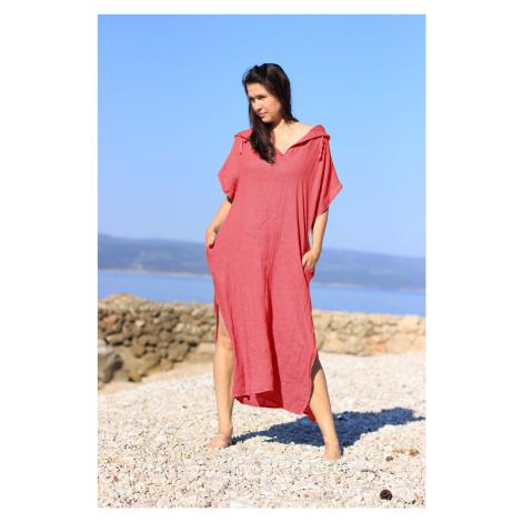 Dámské dlouhé oversized lněné šaty