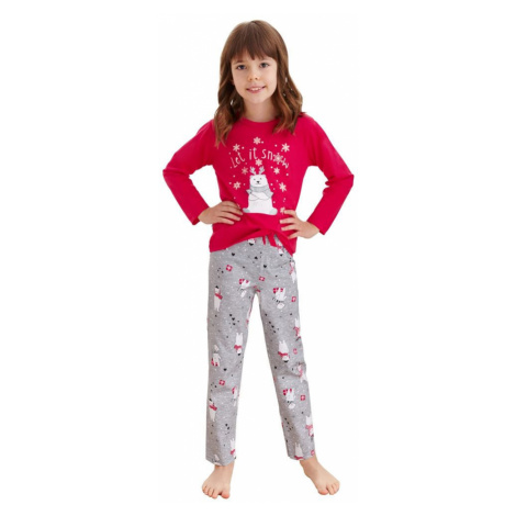 Taro Dívčí pyžamo Maja červené méďa a vločky