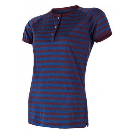 Dámské tričko s knoflíky SENSOR Merino Air PT modrá/vínová