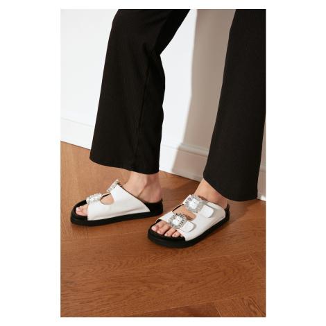 Trendyol White Stone Buckle Women's Slippers