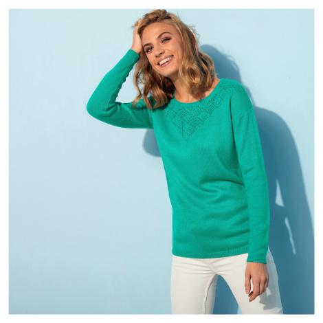 Blancheporte Ažurový pulovr s kulatým výstřihem zelená