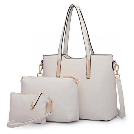Bílý praktický dámský 3v1 kabelkový set Manmie Lulu Bags