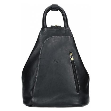 Elegantní dámský kožený batoh Katana Paula - černá