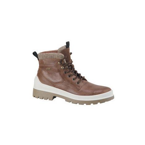Hnědá kožená kotníková obuv se zipem AM SHOE s TEX membránou