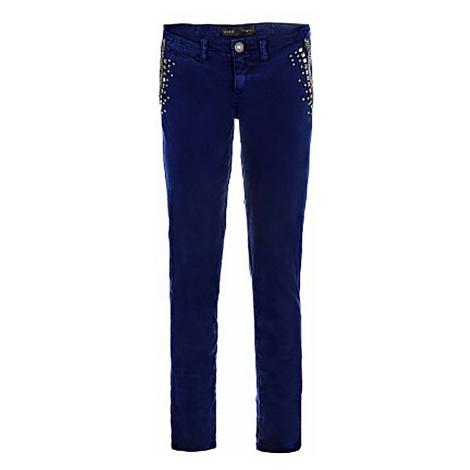 Modré kalhoty GUESS zdobené cvočky