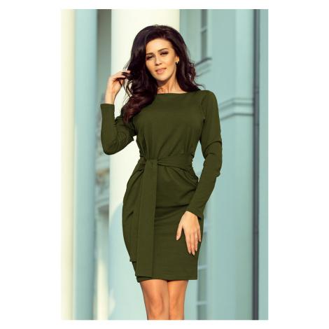 Dámské šaty v khaki barvě se širokým páskem k zavazování model 7007567 NUMOCO