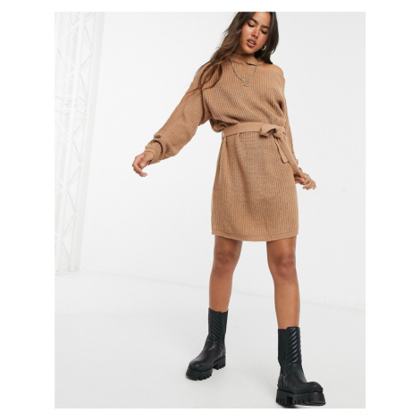 AX Paris cut out shoulder jumper dress in camel-Beige