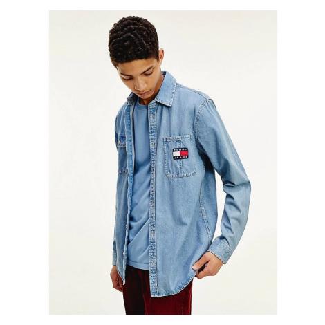 Tommy Hilfiger Tommy Jeans pánská modrá denim košile TJM DENIM BADGE SHIRT