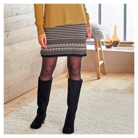 Blancheporte Žakárová sukně černá/béžová
