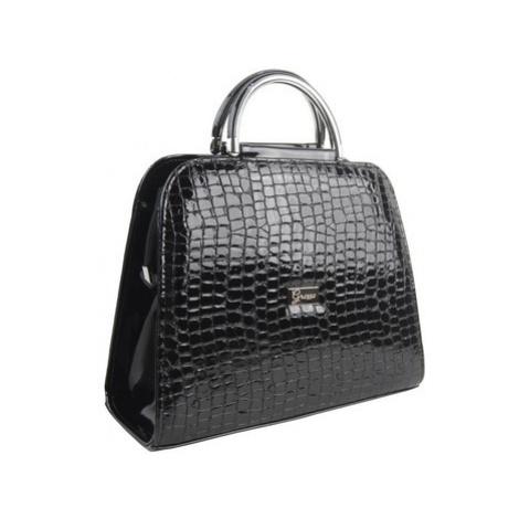 Grosso Luxusní černá lakovaná kroko kabelka do ruky S81 Černá