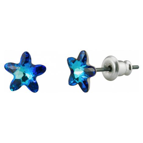 Linda's Jewelry Náušnice Modrá Hvězda Swarovski Elements IN141