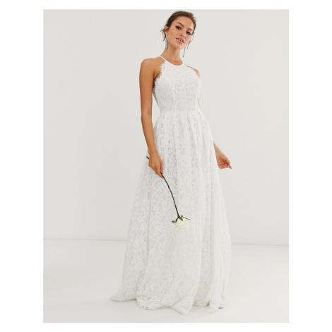 ASOS EDITION lace halter neck maxi wedding dress-White
