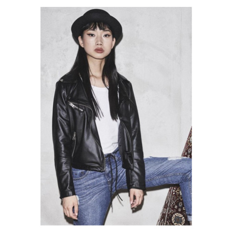 Urban Classics Ladies Faux Leather Biker Jacket black