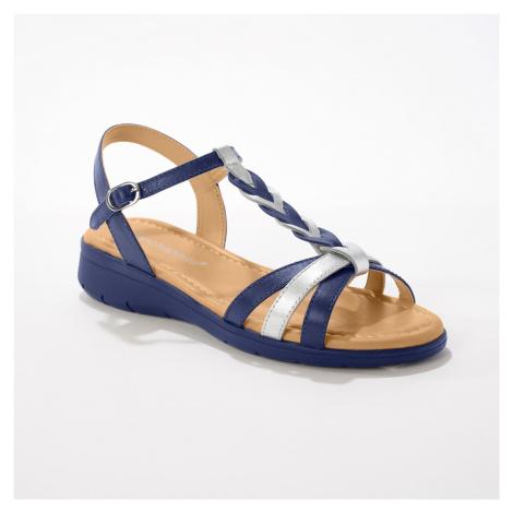 Blancheporte Kožené sandály se splétaným páskem, námořnicky modré nám.modrá