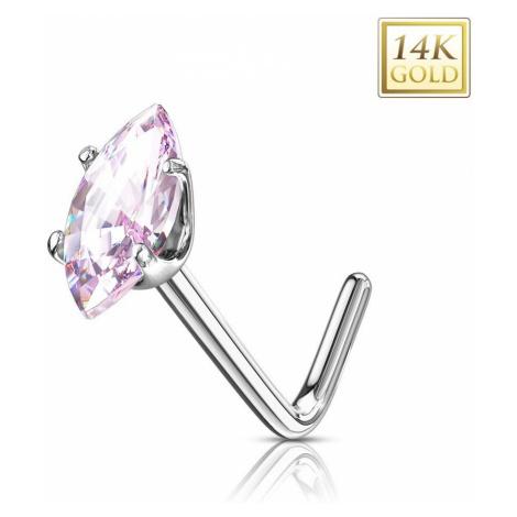 Zlatý 14K zahnutý piercing do nosu - růžové zirkonové zrnko, bílé zlato Šperky eshop