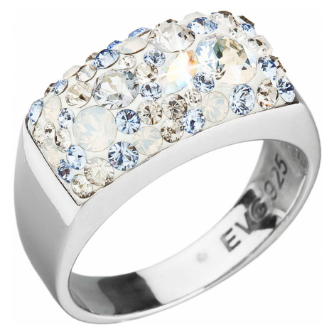 Evolution Group Stříbrný prsten s krystaly Swarovski modrý 35014.3 light sapphire