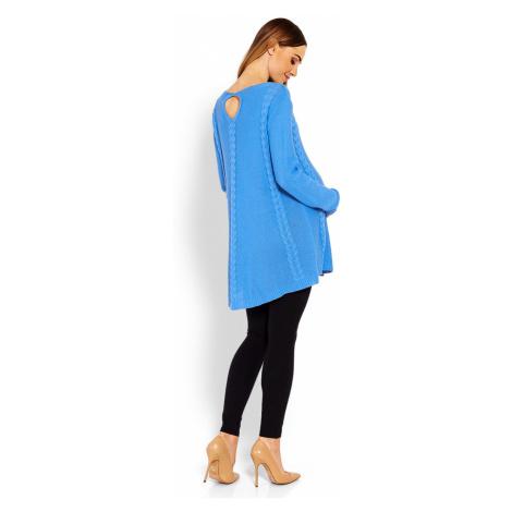 Modrý těhotenský pulovr 40005C PeeKaBoo