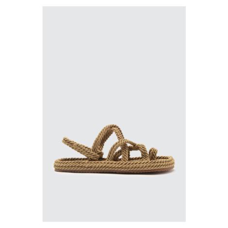Trendyol Women's Sandals WITH Beige Wicker Rope