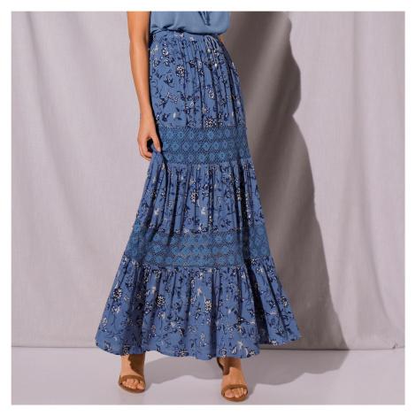 Blancheporte Dlouhá volánová sukně modrá indigo