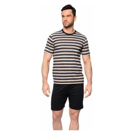 Krátké pánské pyžamo Jarek hnědé Rossli