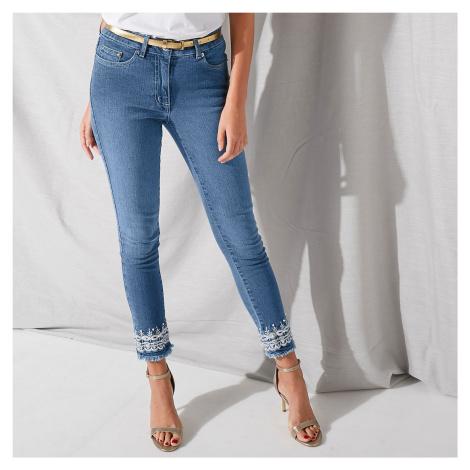 Blancheporte 7/8 džíny s výšivkou sepraná modrá