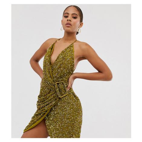 ASOS DESIGN Tall allover sequin drape mini dress with horn buckle-Brown