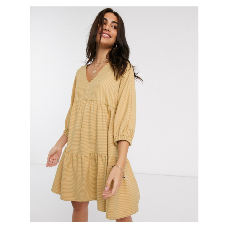 Y.A.S tiered smock mini dress with volume sleeve in tan stripe-Yellow