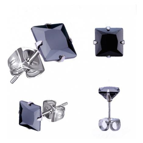 Náušnice z oceli 316L, stříbrná barva, černý zirkonový čtverec, různé velikosti Šperky eshop