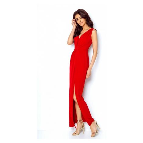 Dámské dlouhé šaty s vysokým rozparkem v červené barvě 217 IVON