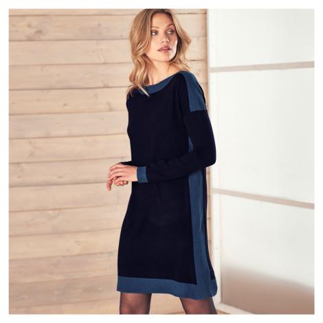 Blancheporte Pletené šaty s lodičkovým výstřihem námořnická modrá
