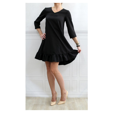 Černé šaty s volánem (134ART) černá INPRESS