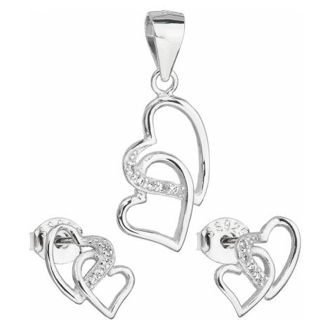 Sada šperků se zirkonem náušnice a přívěsek bílé srdce 19015.1 Victum
