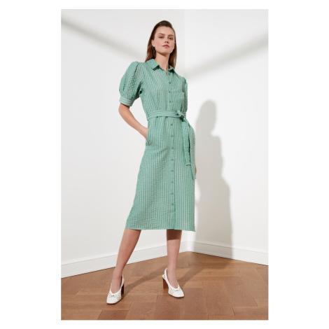 Trendyol Haki Belt Striped Shirt Dress