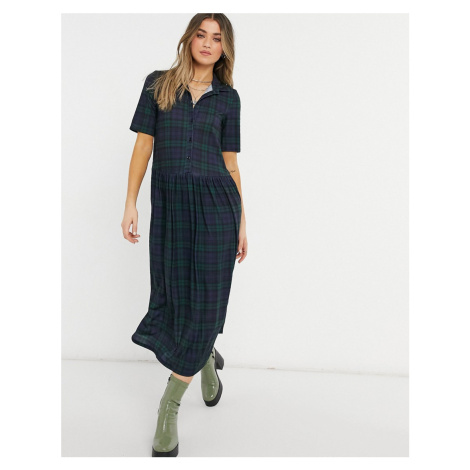 ASOS DESIGN shirt midaxi dress with short sleeves in dark green and blue check print