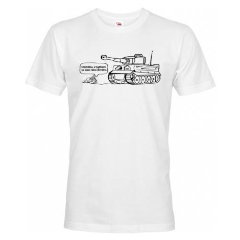 Pánské military tričko s potiskem německého těžkého tanku Tiger BezvaTriko