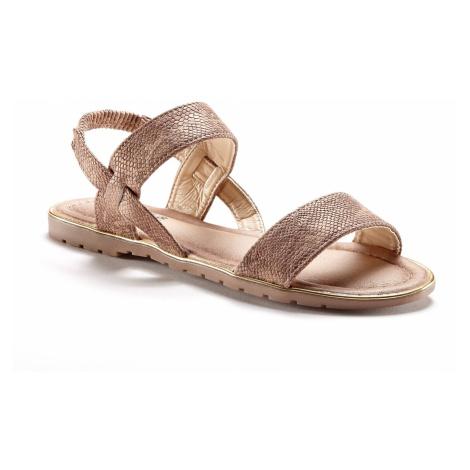 Blancheporte Ploché sandály se vzorem hadí kůže kaštanová
