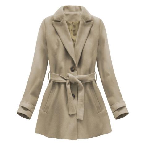 Béžový kabát s knoflíky a páskem (18808) Made in Italy